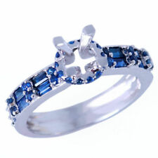 Round 6.5mm Sapphire Diamond Engagement Semi-Mount Ring Sterling Silver 925