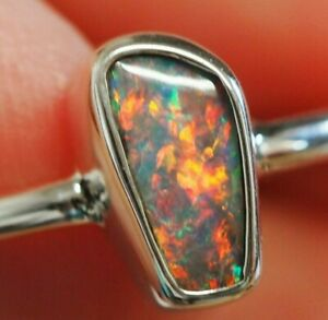 Australian Queensland Boulder Opal Silver Ring UK/AU L1/2 US 6 Hallmarked