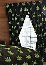 BRAND NEW MARIJUANA POT LEAF 5 PC CURTAIN SET with PANELS, TIE BACKS, & VALANCE