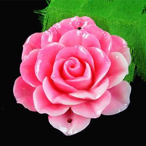K17461 45mm Pink Tridacna Handmade Flower Pendant Bead