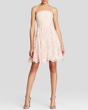 Vera Wang Strapless Floral Short Lace Tulle Dress Dusty Pink Bridesmaid NWT Sz 8