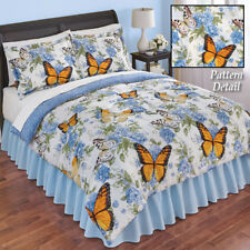 Nadine Reversible Rose Butterfly King Size Comforter Set w/ Pillow Shams