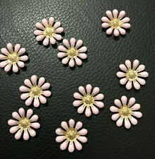 10 Pink & Gold Flower Flatback Button Craft Wedding Hair Embellishments