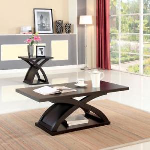 Modern Espresso Wood Coffee Table X Shaped Base Furniture of America Barkley NEW