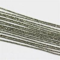 """Natural Pyrite Faceted Tiny Beads 2mm 3mm 4mm Round Ball Loose Bead 15.5"""" DW79"""