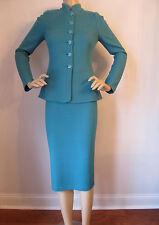 NWT St John Knit suit skirt jacket verde green size 4