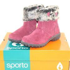 SPORTO BALLAD womens side zip winter boots shoe size 6 M plum suede faux fur NEW