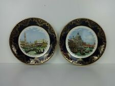 Vintage Plates Small Pair Canaletto Artist Design Royal Falcon Weatherby Pottery