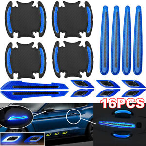 16pcs Blue Car Door Handle Bumper Safety Warning Tape Reflective Decal Stickers