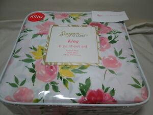 Sugar Studio 6 pc King Sheet Set Spring Blossom Floral ~ Pink, Yellow, Green NEW