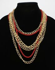 New Multi Strand Gold Chain Necklace by Bold Elements $36 Tags #N2675