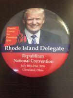 2016 Republican National Convention Rhode Island Delegate Button Donald Trump