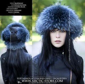 Blue Russian raccoon tanuki fur hat shapka ushanka natural leather top