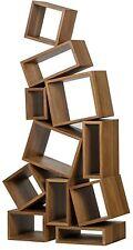 "68"" T Bookcase Bookshelf Solid Walnut Wood Dark Finish Eccentric Modern Design"