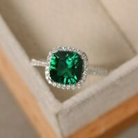925 Sterling Silver Natural Certified Handmade Emerald  Octagon Shape Ring