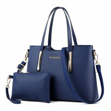 Womens Ladies 2pcs Leather SHOPPER Clutch Hobo Shoulder Bag Handbag Purse Tote Dark Blue