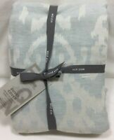 West Elm Dusty Blue Oversized Ikat Full/Queen Duvet Cover+2 Standard Shams