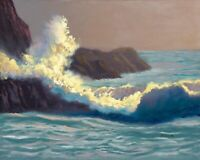 Rocks Twilight Crashing Waves Seascape Fine Art Original Oil Painting