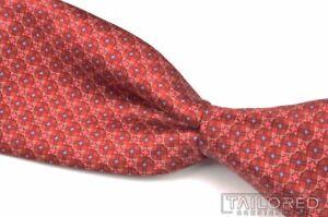 "CANALI 1934 Red Geometric Satin 100% Silk Mens Luxury Tie - 3.125"""