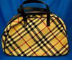 Burberry wool nova check bowling bag shopper purse handbag EUC leather trim