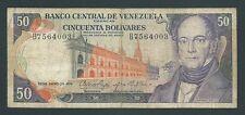 F.C. VENEZUELA , 50 BOLIVARES 1974 , B/C- ( FINE- ) , SUCIO , ROTURA , P.54b .