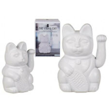 MANEKI-NEKO JAPANESE NOVELTY WHITE LUCKY WAVING CAT LARGE ORNAMENT NEW & BOXED