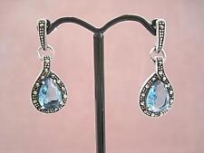 Deco Inspired Blue Topaz CZ, Marcasite & Silver Drop Earrings