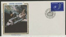 UNITED NATIONS 1982 FDC COLORANO SILK CATCHET U.N. EMBLEM OLIVE BRANCH IN SPACE