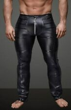 Latex Look (Faux) Black Men's Gay Trousers Zip Front Criss Cross Glossy Panels