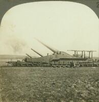 """WW1 Stereoview """"The Dogs of War Let Loose are Howling"""" French 320's in Action"""