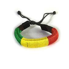 Rasta Corded Bracelet Wrist Band Hippie Hawaii Negril Dub Ras Reggae Marley RGY