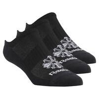 Reebok Classics Foundation Invisible Socks 3 Pairs Size 11.5-14 Black RRP £15