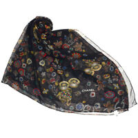 Authentic CHANEL CC Logos XL JUMBO Scarf 100% Silk Black Italy 65MA051