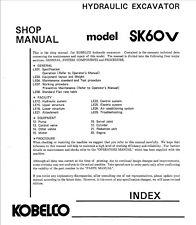 Kobelco SK60V SK 60 V Hydraulic Excavator Shop Service Manual