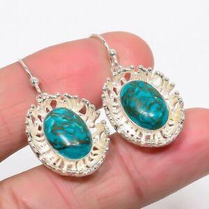 "Santa Rosa Turquoise Gemstone 925 Sterling Silver Jewelry Earring 1.38"" UE302-16"