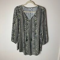 Sonoma Women's Top Size Large Tassel Ties 3/4 Sleeves Paisley Casual Green Blue