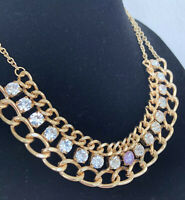 Vintage Statement Chain Rhinestone Bib Necklace Chunky Multi Strand Gold Tone