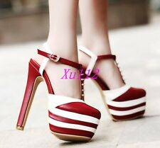 New Ladies Rivet Ankle Strap Slingback Platform Mary Jane Block High Heels Shoes