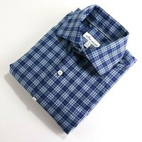 Peter Millar Mens Size S Button Front Long Sleeve Cotton Plaid Blue Dress Shirt