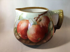 """Vintage """"Belleek"""" Hand-Painted Cider Pitcher with Apples"""