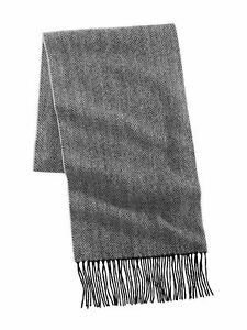 CLUBROOM Mens Charcoal Gray Cashmere Herringbone Winter Scarf