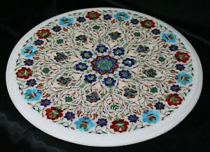 21 Inches Marble Center Table Inlay with Multi Gemstones Art Coffee Table Top