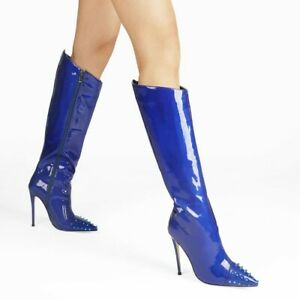 Womens Pull Pointed Toe High Heel Knee High Boots Sexy Stiletto Shoes Nightclub