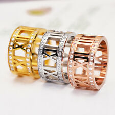 Stainless Steel 14K Rose Gold Roman Numeral Letter Crystals Diamante Lovers Ring