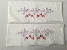 Vintage Hand Embroidered Pillowcase Pink & Purple Flowers Set of 2