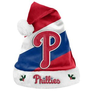 Philadelphia Phillies Team Big Logo Holiday Plush Santa Hat NEW! Christmas SH19