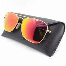 Ray Ban 3136 55 112/69 Caravan Matte Gold Orange Mirror New Sunglasses Authentic