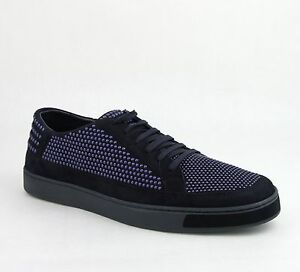 $640 Gucci Mens Suede Leather Bubble Studs Lace-up Sneaker Dark Blue 391688 4018