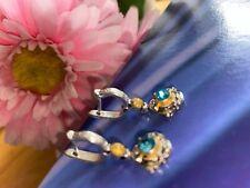 Woman 925 Silver 18K Gold Plated Blue Topaz Flower Clip Earrings . UK