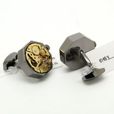 Steampunk Black Octagon and Gold Movement Watch Cufflinks